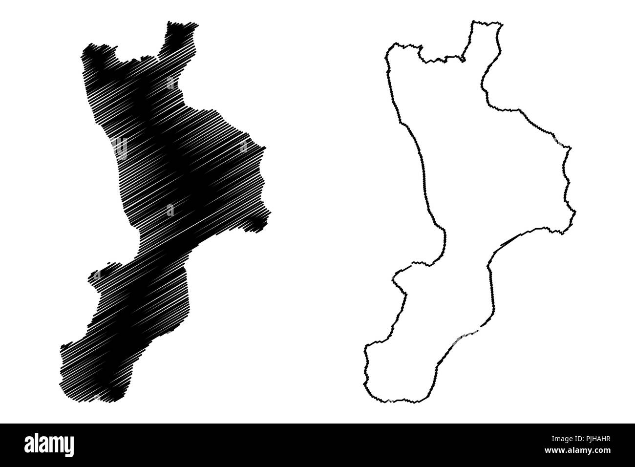 Calabria (Autonomous region of Italy, Bruttium) map vector ...