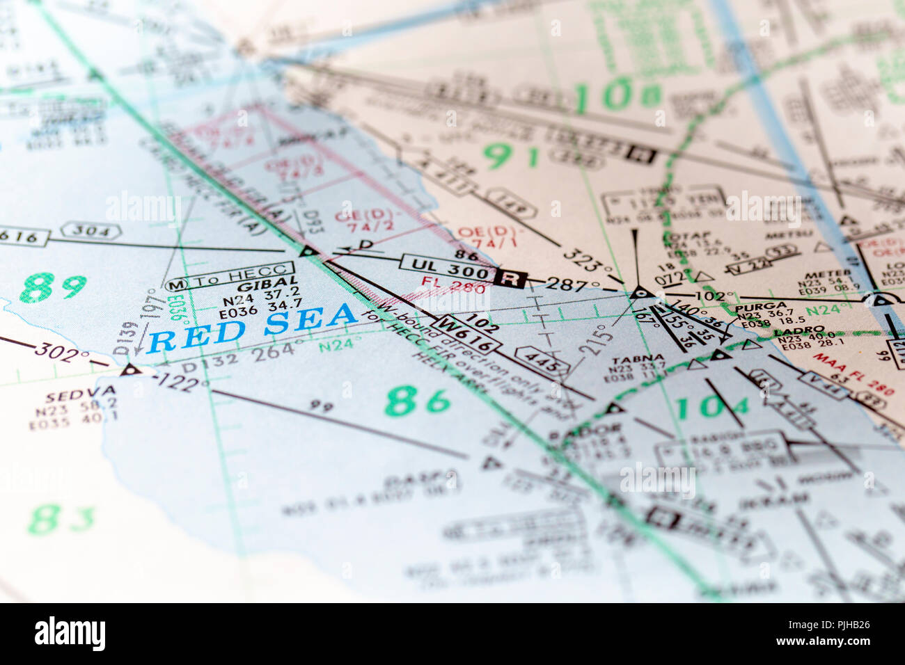 Detail of a commercial aviation pilot's flight map in the Middle East. - Stock Image