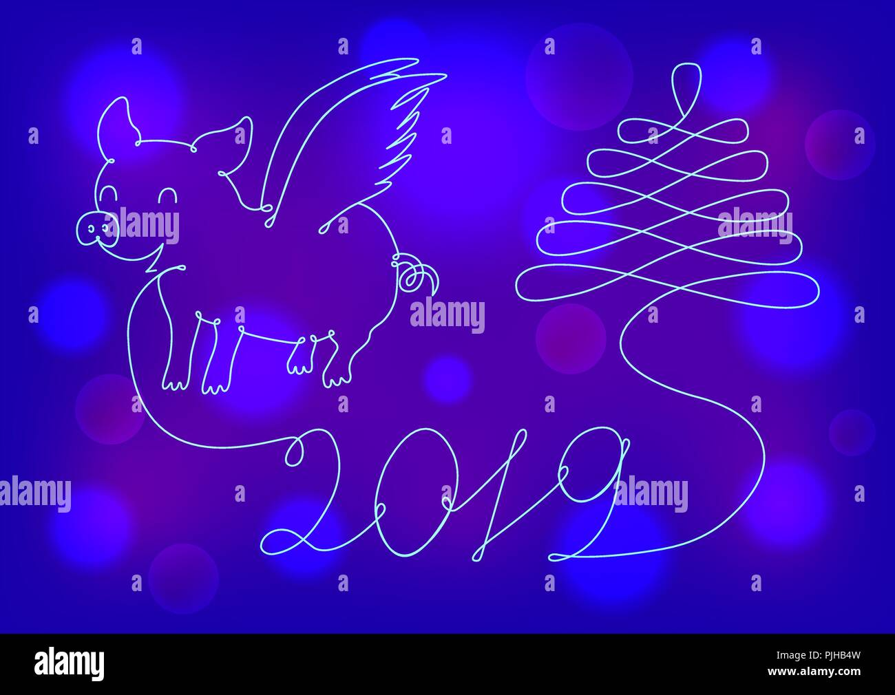 abstract new year symbol 2019 on a neon background
