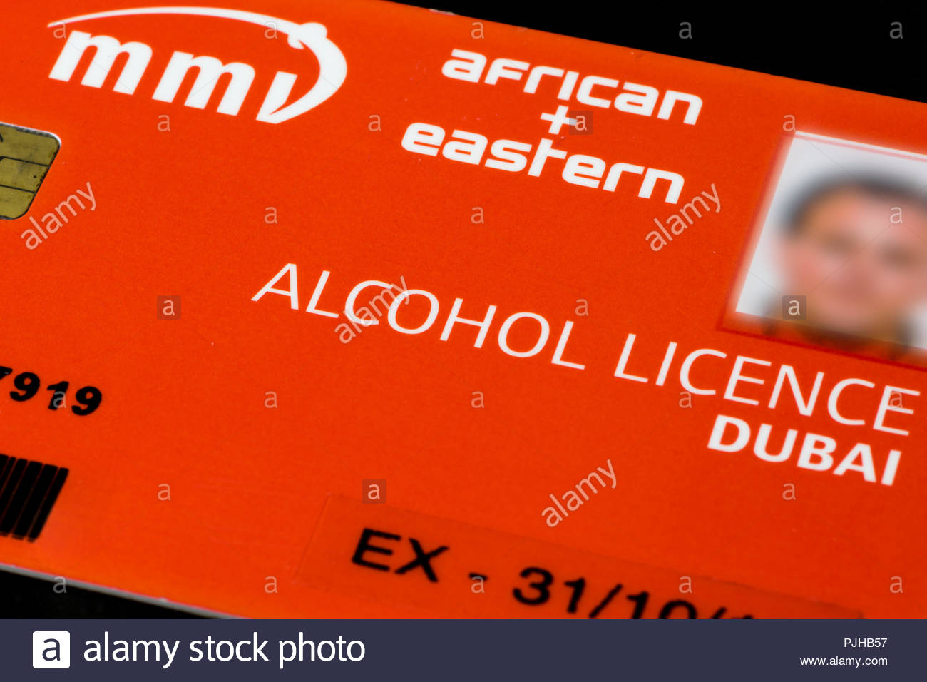 Close-up of an Alcohol Licence card to use in Dubai Emirate only, United Arab Emirates, UAE - Stock Image