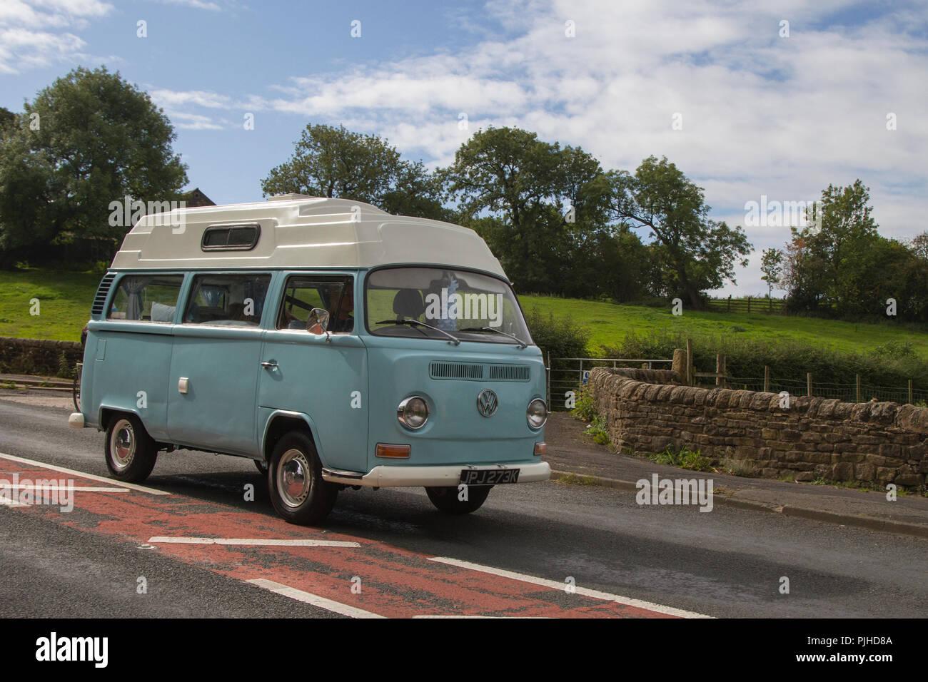 Blue Volkswagen Motor Caravan Classic, vintage, veteran, cars of yesteryear, restored collectibles at Hoghton Towers Car Rally, UK - Stock Image