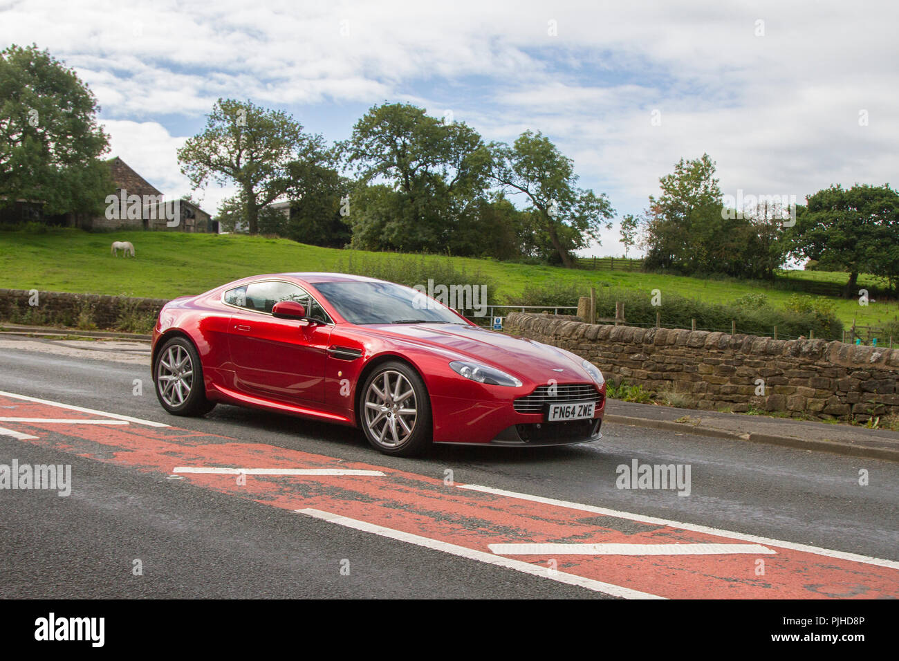 Aston Martin Vantage V8 Classic, vintage, veteran, cars of yesteryear, restored collectibles at Hoghton Tower Car Rally, UK - Stock Image