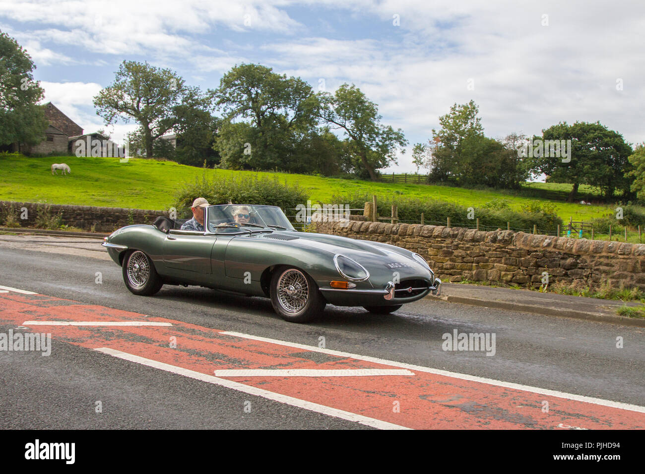 Jaguar 'E' Type Classic, vintage, veteran, cars of yesteryear, restored collectibles at Hoghton Tower Car Rally, UK - Stock Image