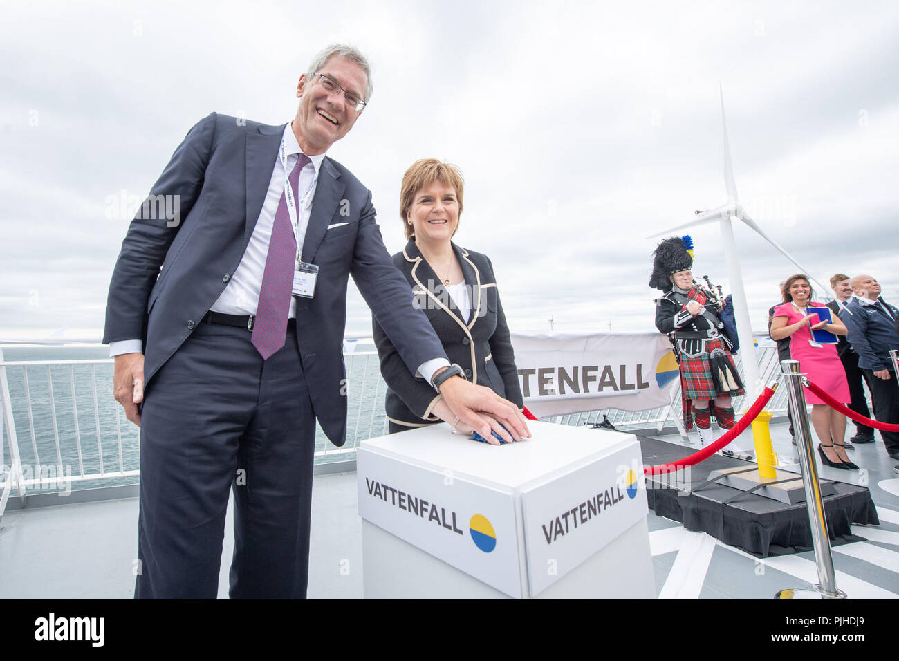 Vatenfall CEO Magnus Hall and First Minister Nicola Sturgeon open Vattenfall's European Offshore Wind Deployment Centre (EOWDC) off the coast of Aberdeen. - Stock Image