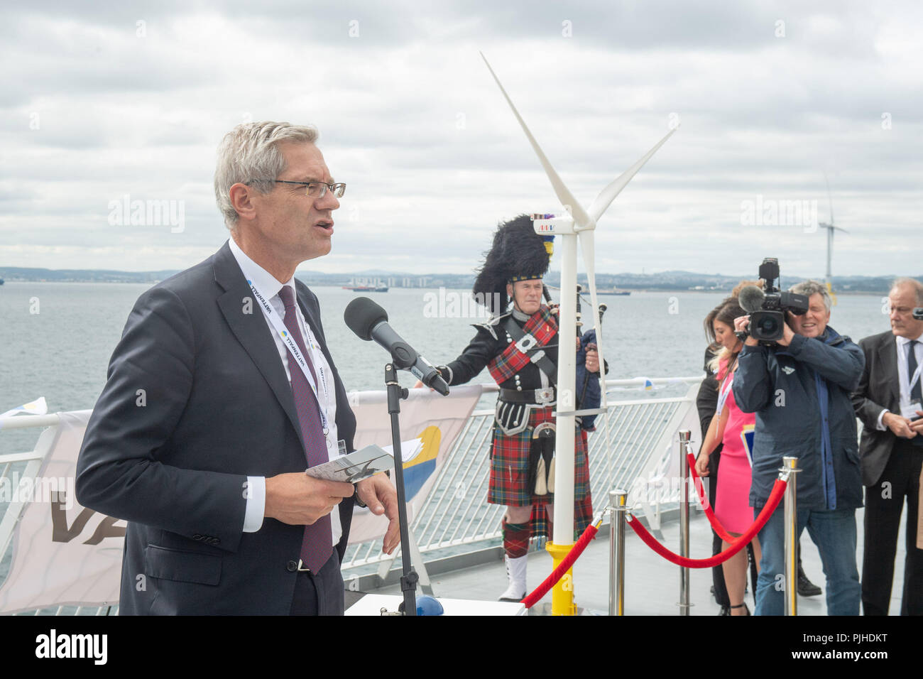 Vatenfall CEO Magnus Hall at the opening Vattenfall's European Offshore Wind Deployment Centre (EOWDC) off the coast of Aberdeen. - Stock Image
