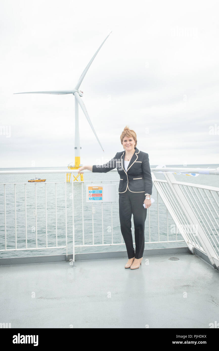 First Minister Nicola Sturgeon at the opening of Vattenfall's European Offshore Wind Deployment Centre (EOWDC) off the coast of Aberdeen. - Stock Image