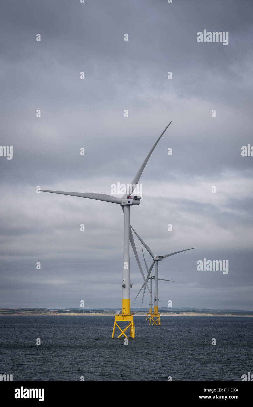 Vattenfall's European Offshore Wind Deployment Centre (EOWDC) off the coast of Aberdeen. - Stock Image