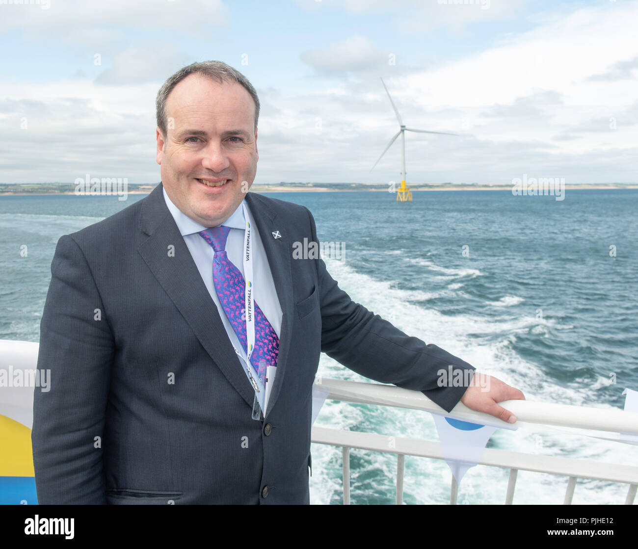 Paul Wheelhouse, Minister for Energy, Connectivity and the Islands at the opening of Vattenfall's European Offshore Wind Deployment Centre (EOWDC) off the coast of Aberdeen. - Stock Image