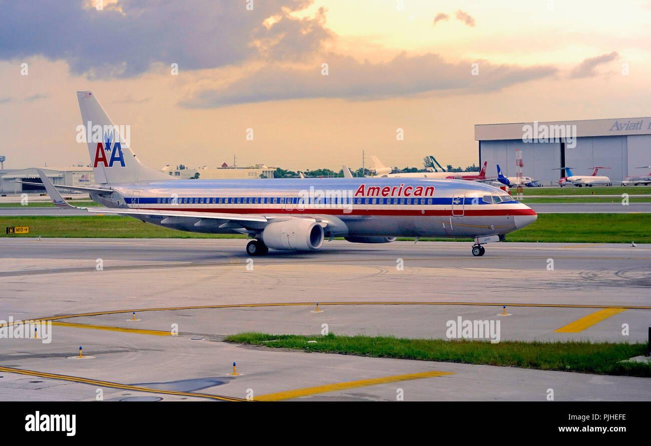 usa florida miami airport american airlines plane stock photo