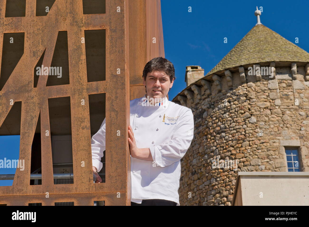 France, Center France, Chaudes-Aigues, Serge Vieira, Bocuse d'Or (Wolrd Cooking Contest), head cook of the Château du Couffour - Stock Image