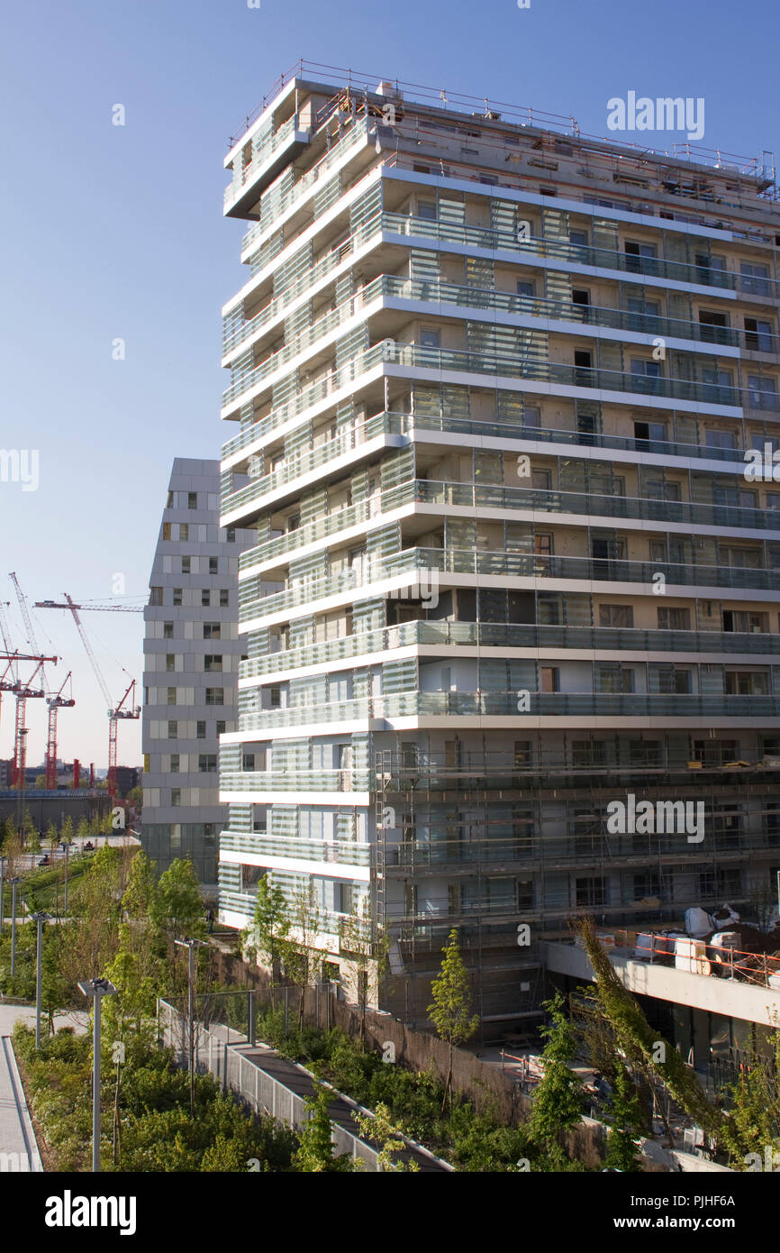 France, Paris, Parc Clichy-Batignolles-Martin Luther King,new building of the eco-district Stock Photo