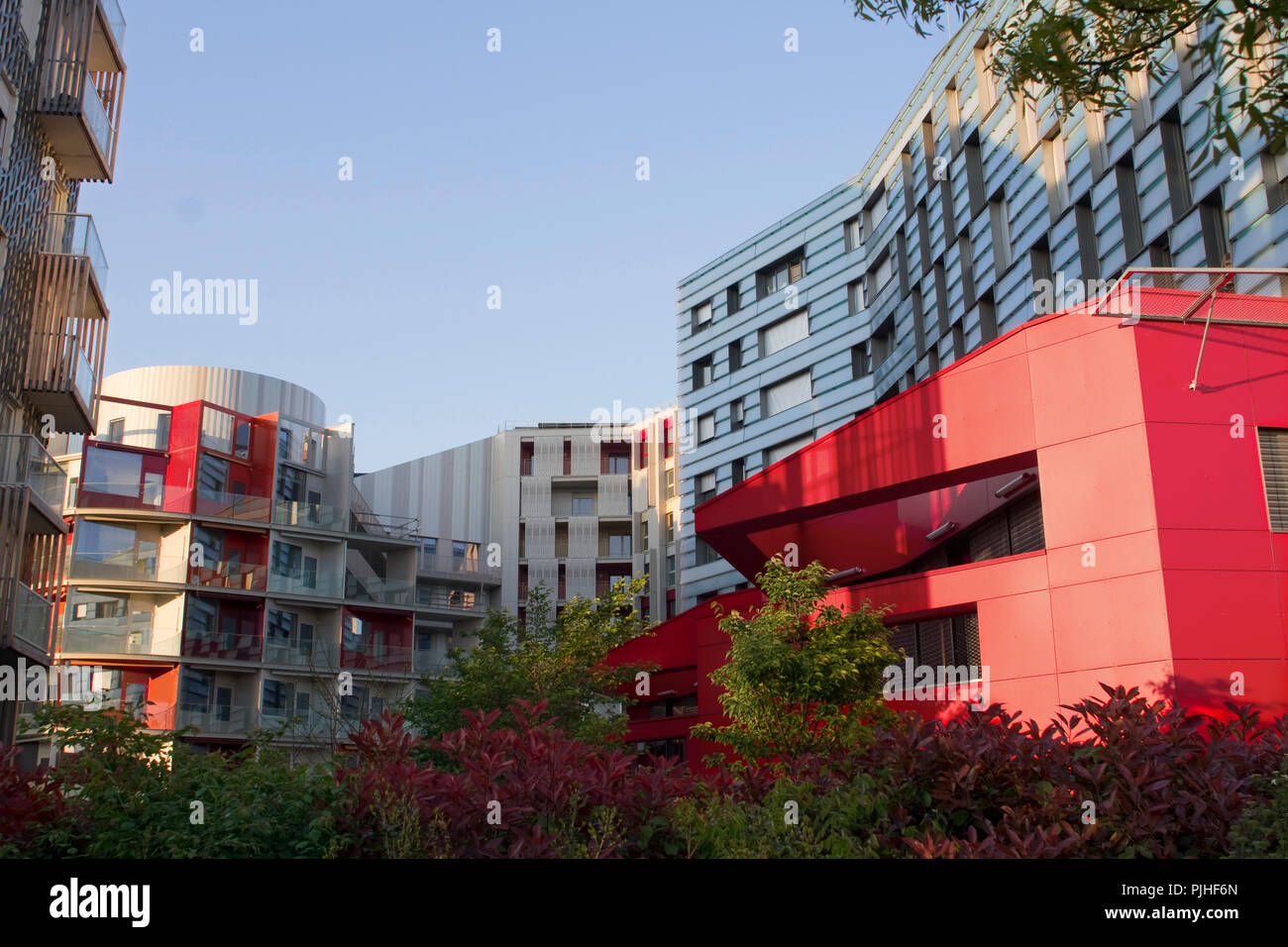 France, Paris, Parc Clichy-Batignolles-Martin Luther King, new buildings of an eco-district Stock Photo
