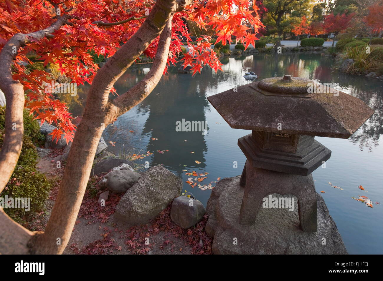 Japan, Central Kyoto, Traditional Toro Stone Lantern Standing At The Edge  Of The Garden Pond (with A Reflection Of The Wooden Five Storied Pagoda)  Amidst ...