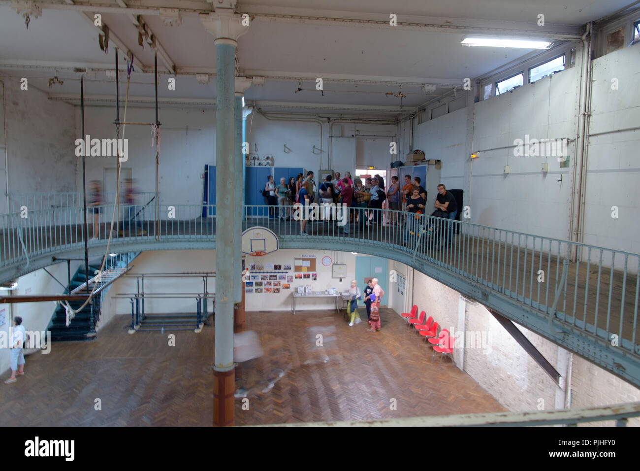 France, Paris 9th arrondissement, 14 Trevise street, YMCA, world oldest basketball playground (1893). 2014 European Heritage Days. - Stock Image