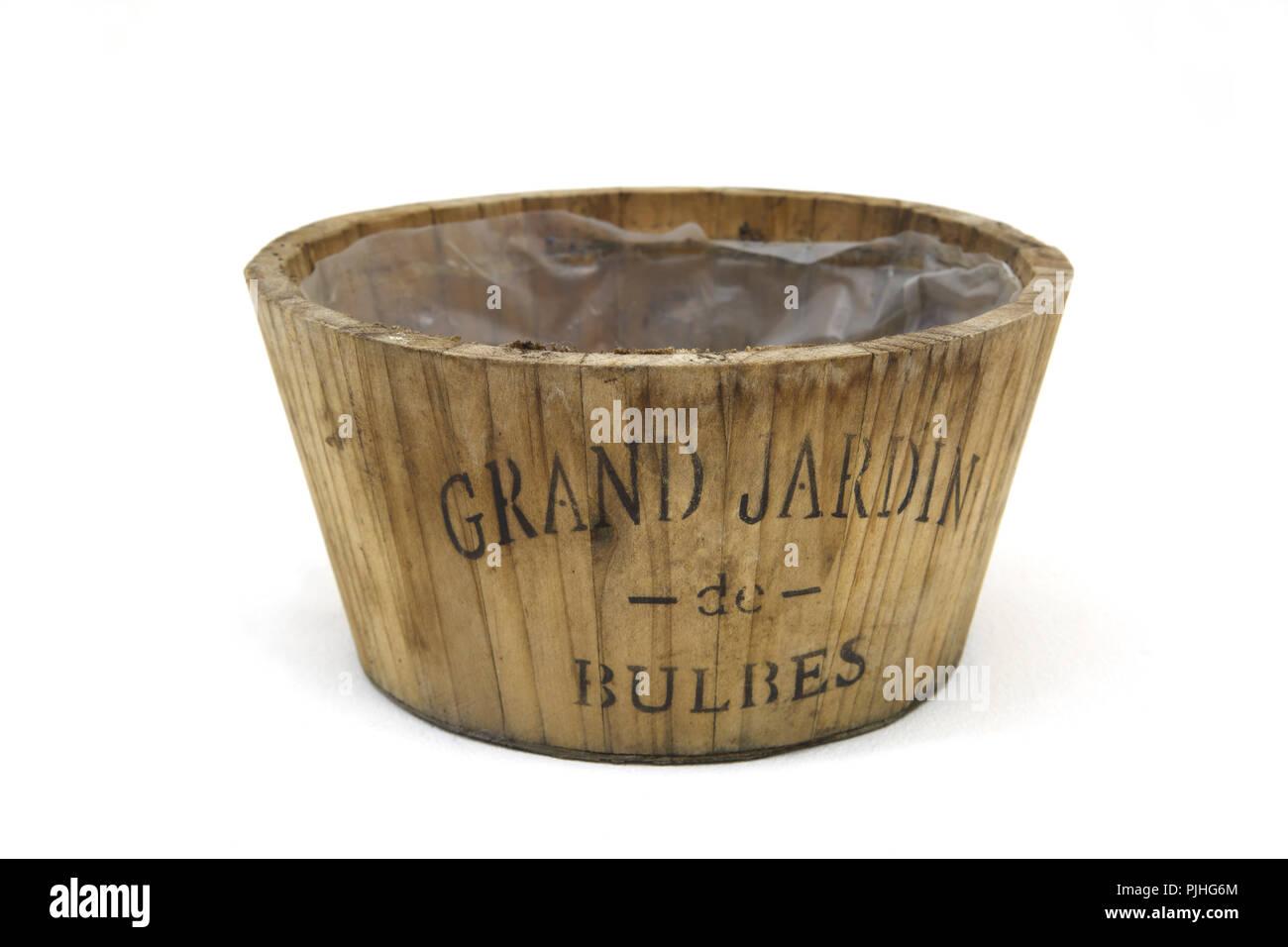 Wooden Pot For Storing Bulbs - Stock Image