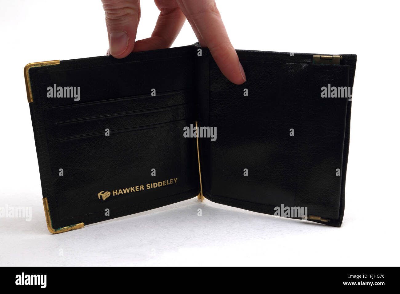 Hawker Siddeley Leather Wallet and Money Clip - Stock Image
