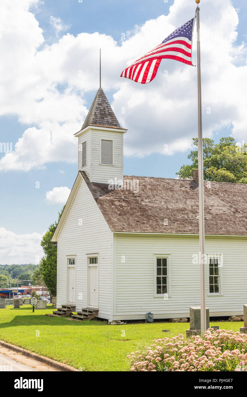 HICKORY, NC, USA-9/6/18: Houk's Chapel is the oldest church in the city,  built in 1893 in a distinct German architectural style. Stock Photo