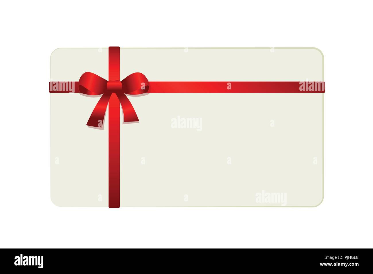 White Gift Card With Red Ribbon Isolated From Background Vector