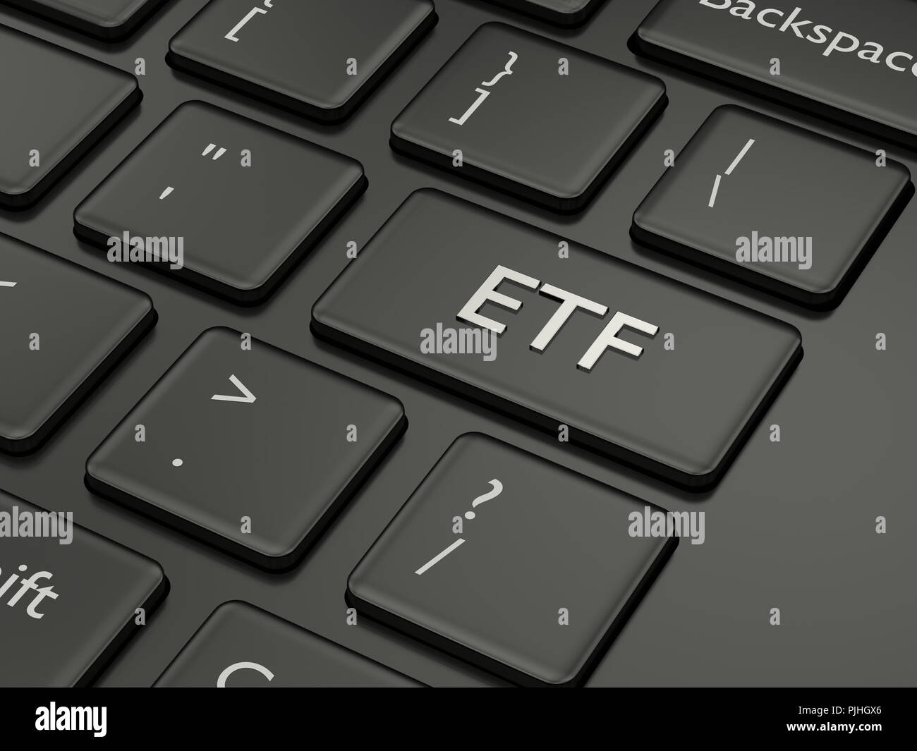 3d render of computer keyboard with ETF button. Stock market issue concept Stock Photo