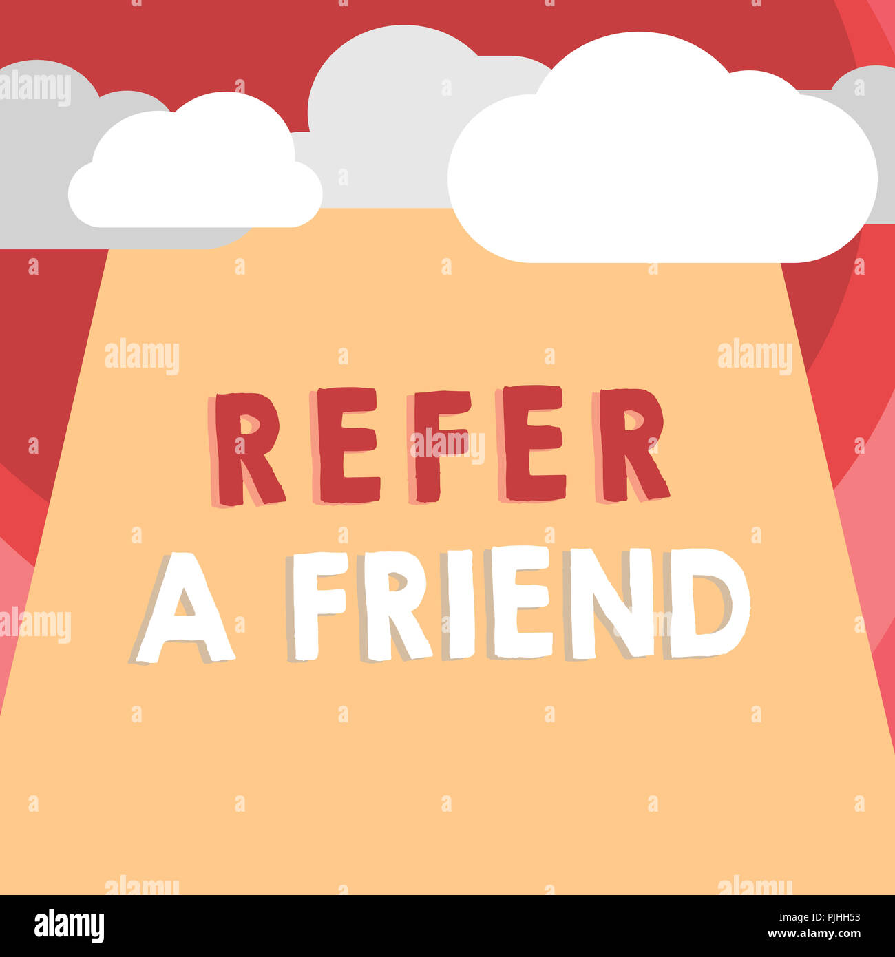 Handwriting text writing Refer A Friend. Concept meaning Recommendation Appoint someone qualified for the task. - Stock Image