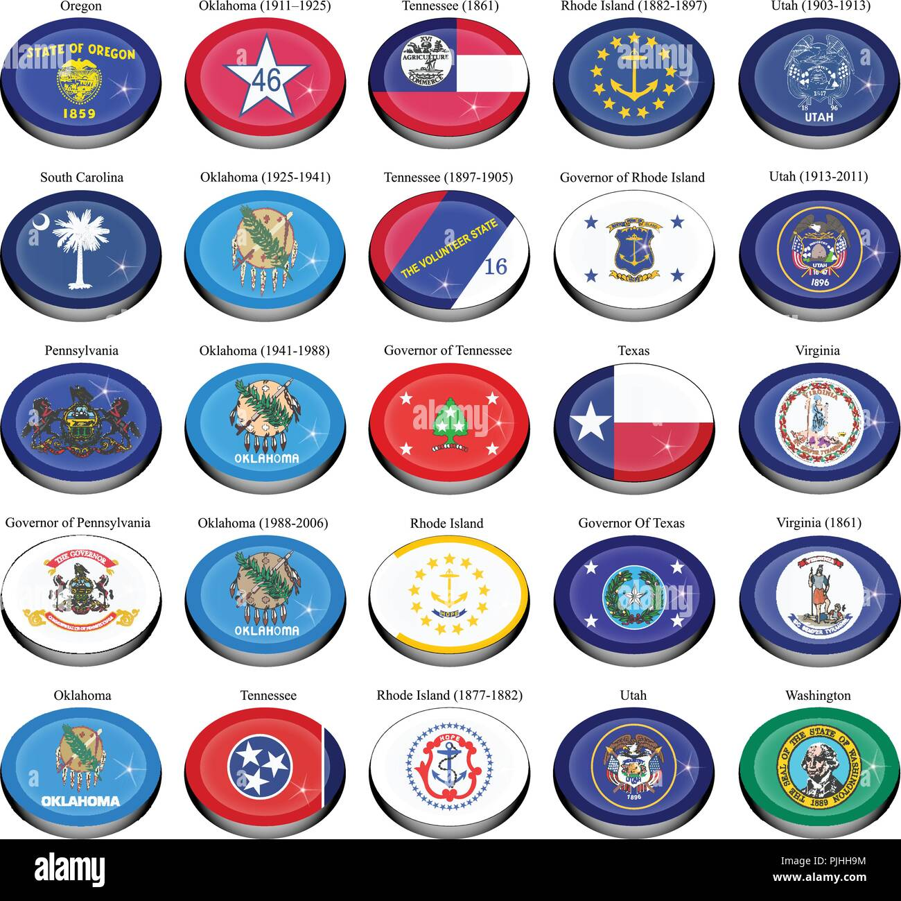 Set of icons. States and territories of USA flags. - Stock Vector
