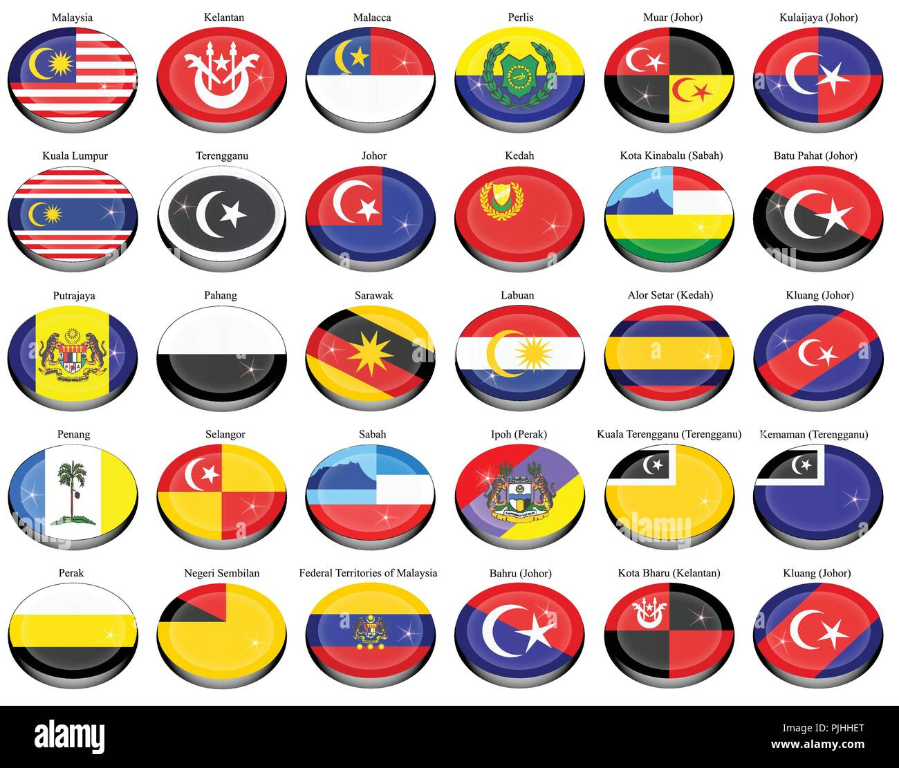 Set of icons. Flags of the Malaysian states and cities. Vector. - Stock Vector