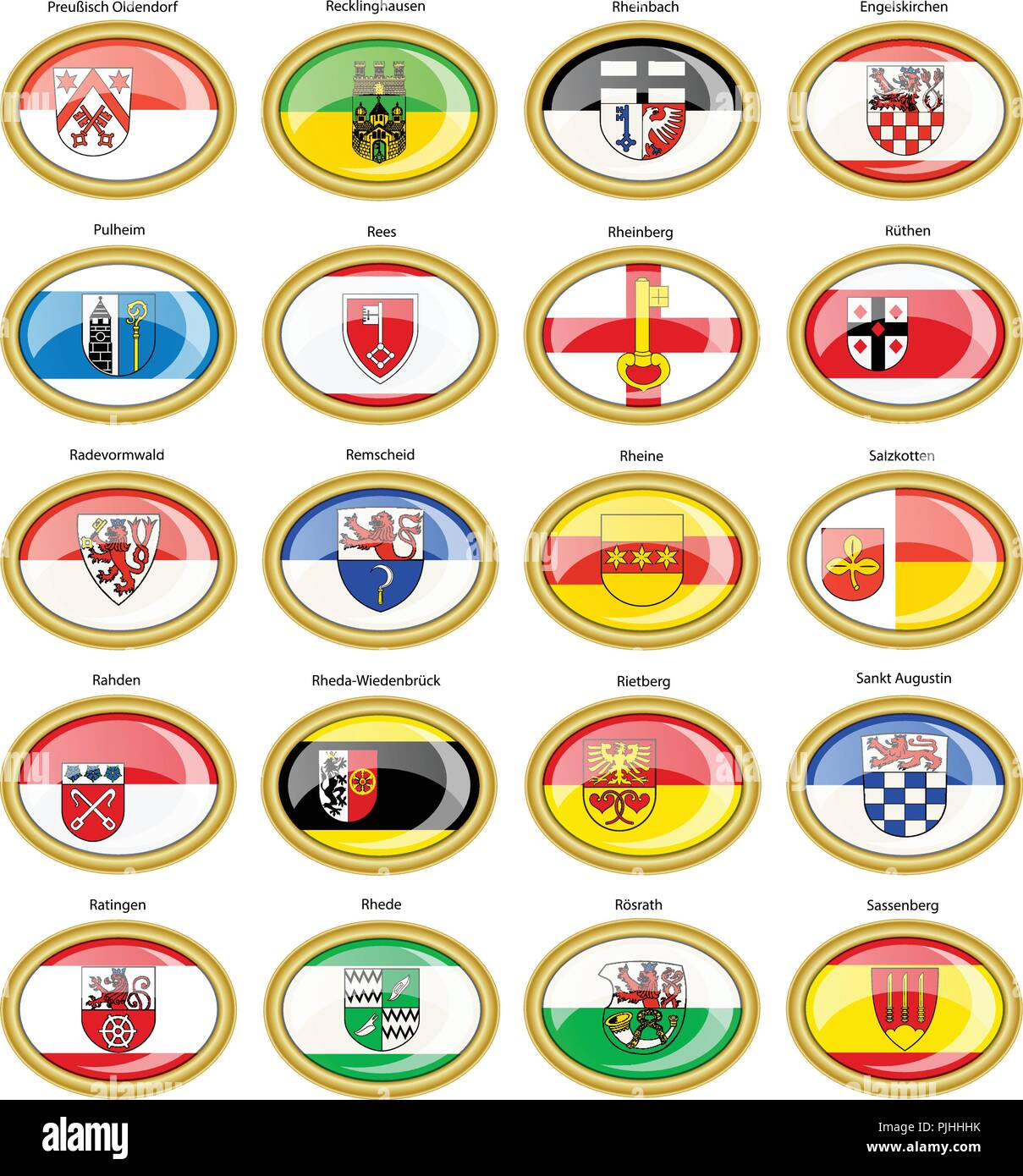 Set of icons. Flags of german cities (North Rhine-Westphalia). Vector. 3D. - Stock Image