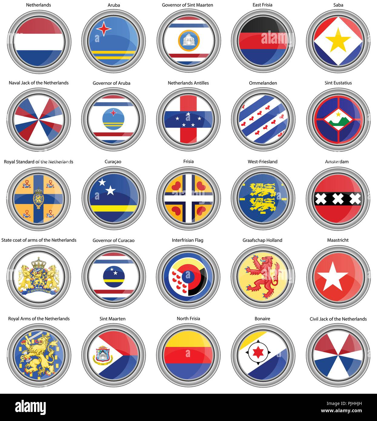 Set of icons. Flags of the Netherlands. 3D. - Stock Vector