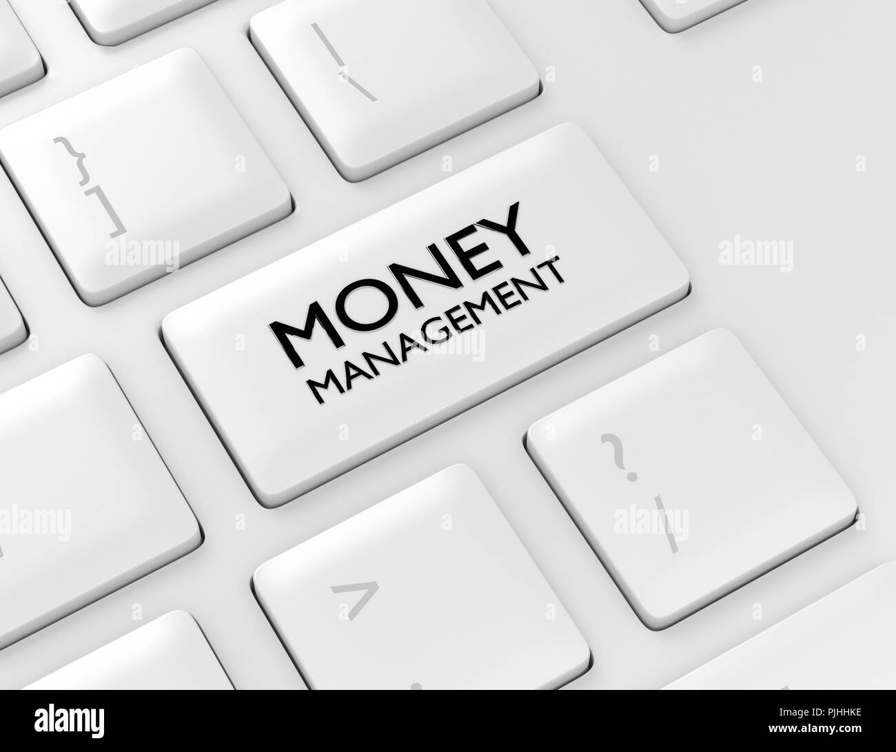 3d render of computer keyboard with MONEY MANAGEMENT button. Stock market subject. - Stock Image