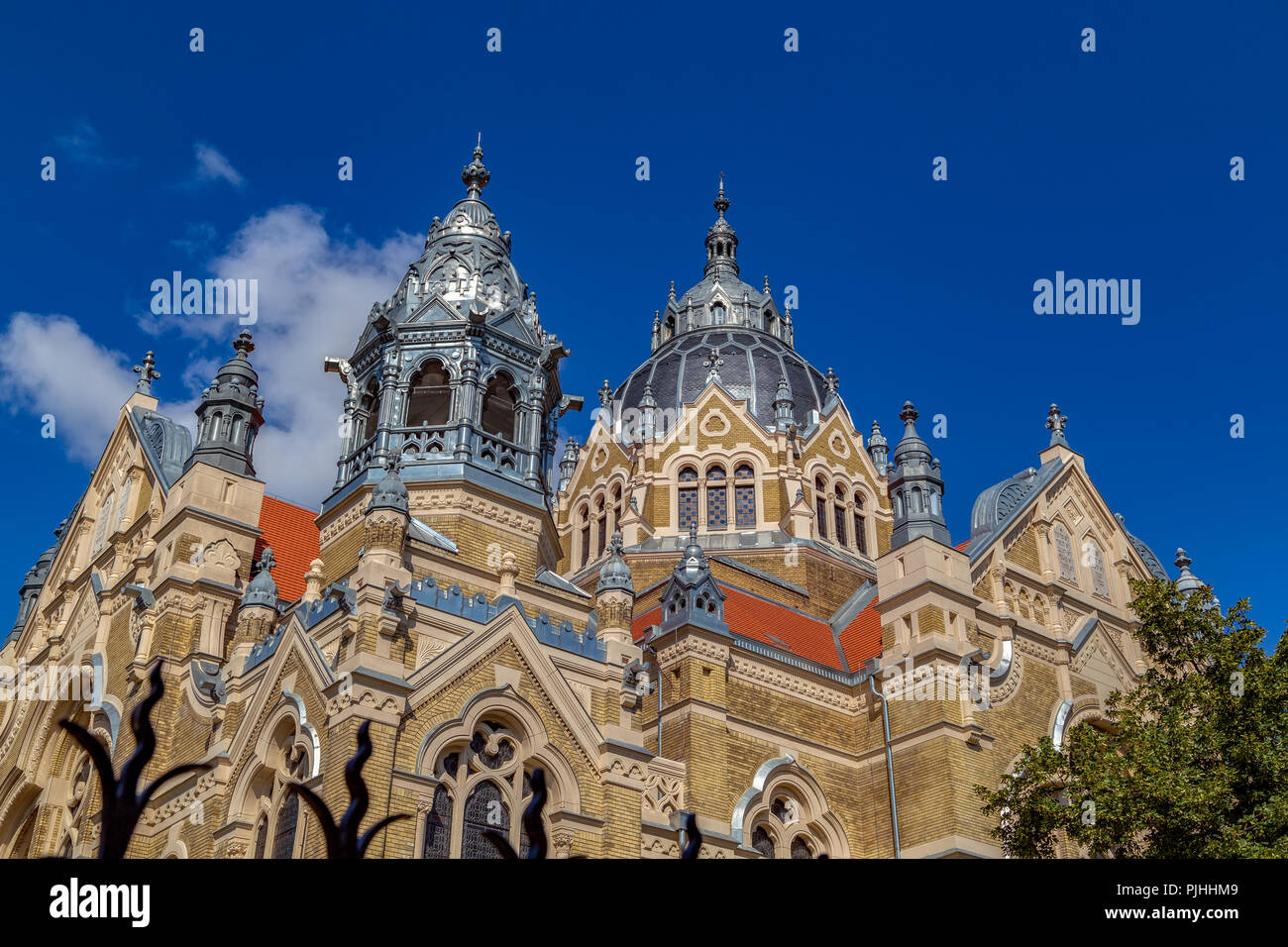 The synagogue in Szeged,Hungary,in 2017 renovated building on a sunny summer afternoon.Hungary second,the world fourth largest synagogue. - Stock Image