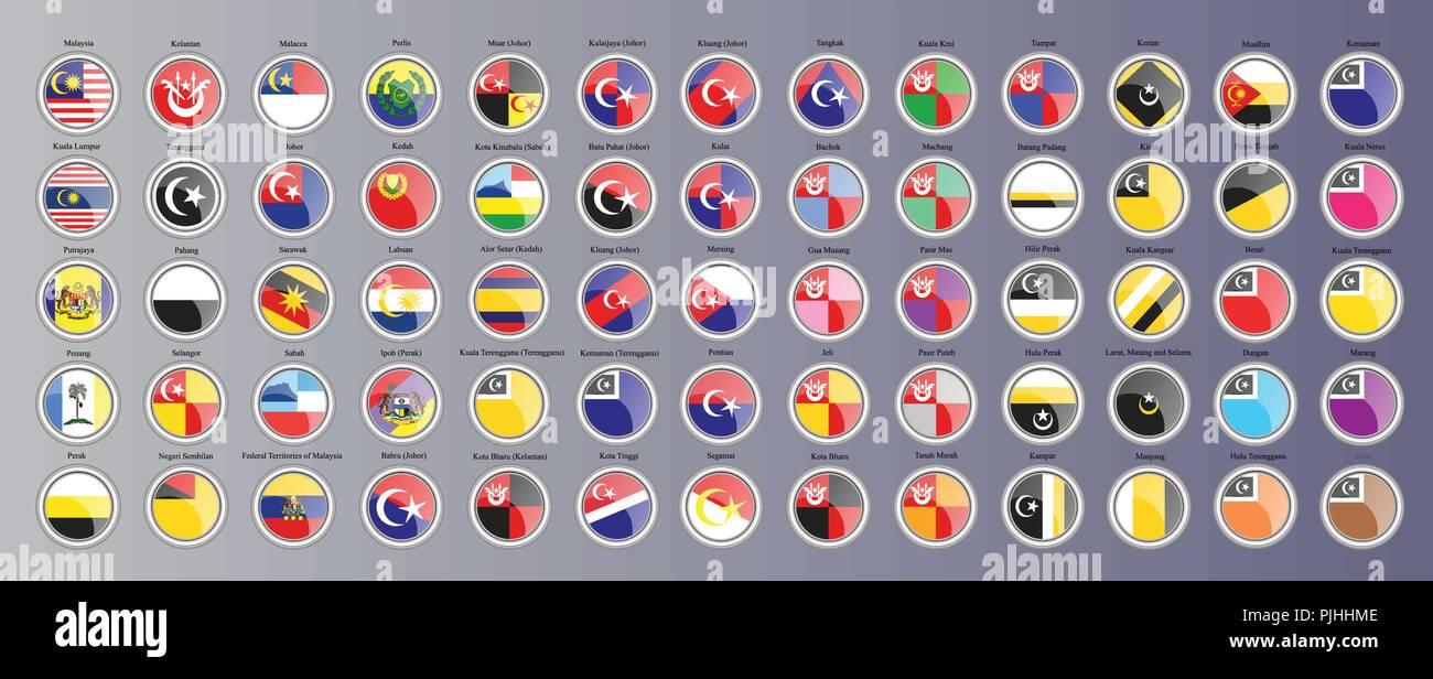 Set of icons. Flags of the Malaysian regions. 3D illustration. Vector. - Stock Vector