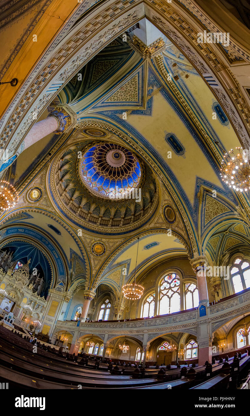 Interior of Szeged Synagogue.The building designed by architect Lipot Baumhorn was opened in 1902.Hungary second,the world fourth largest synagogue. - Stock Image
