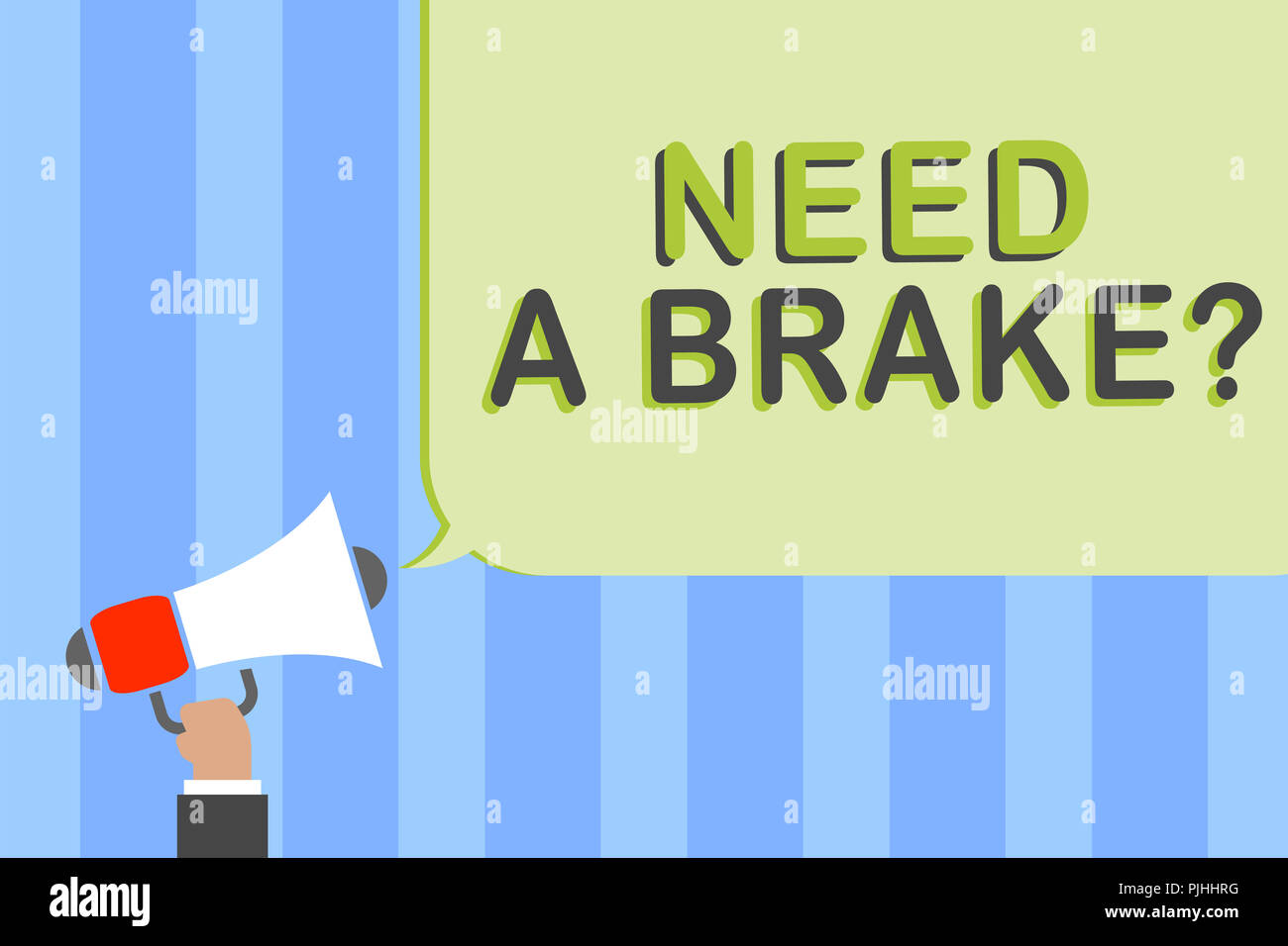 Writing note showing Need A Brake question. Business photo showcasing More Time to Relax Chill Out Freedom Stress Free Man holding megaphone loudspeak - Stock Image