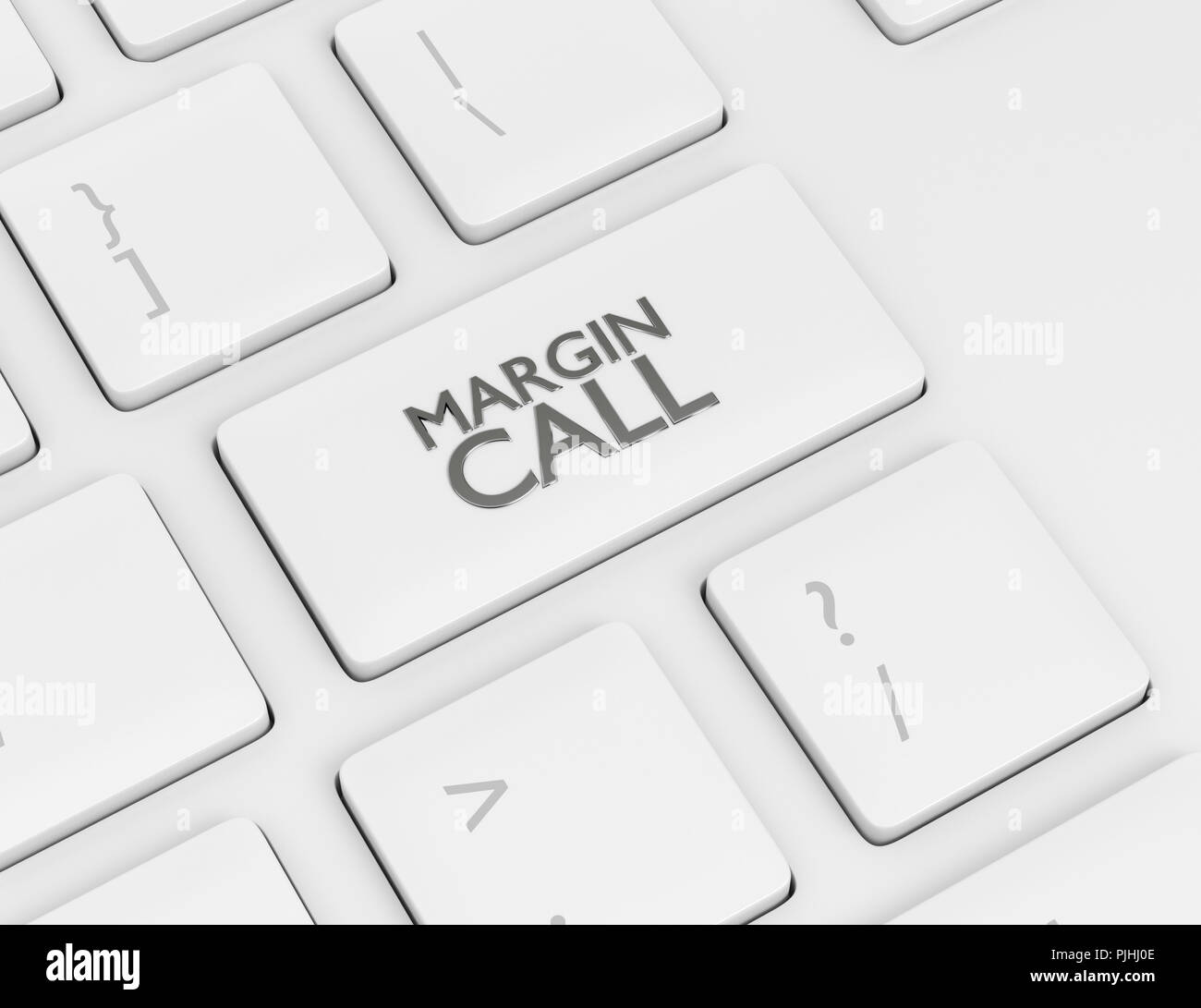 3d render of computer keyboard with MARGIN CALL button - Stock Image