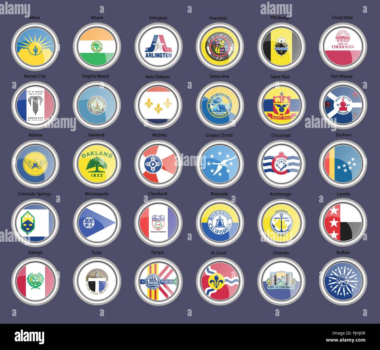 Set of icons. Cities of the USA flags. Vector. - Stock Vector