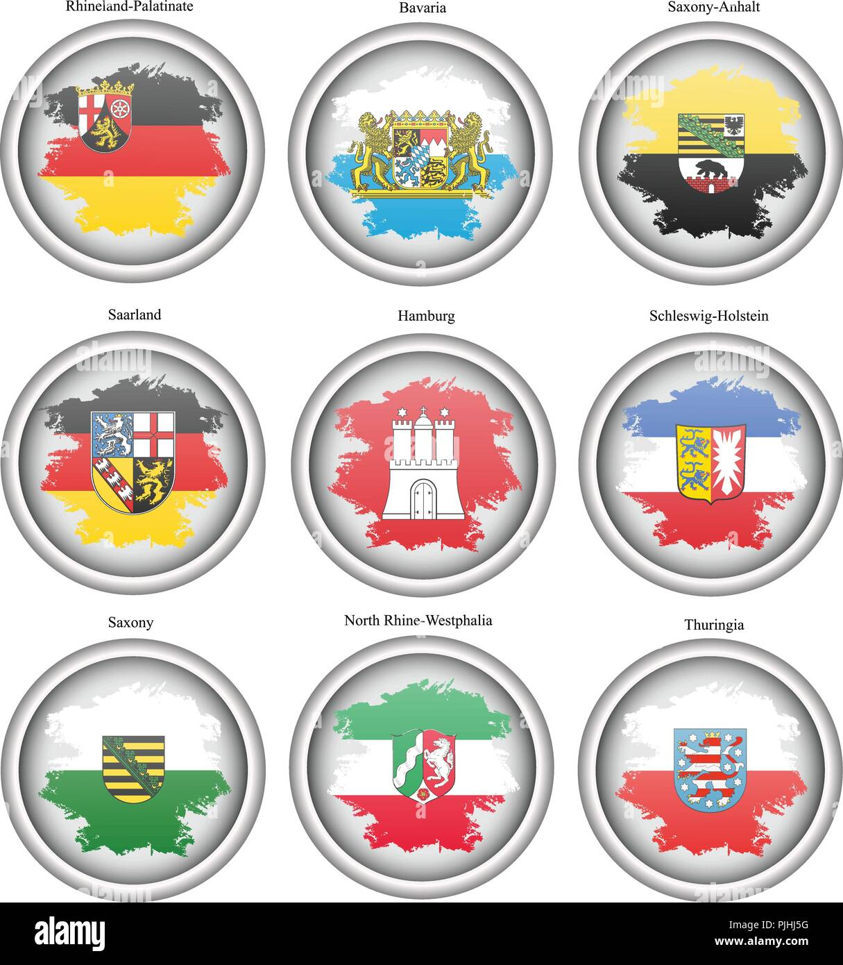 Set of icons. States of Germany flags. Vector. Stock Vector
