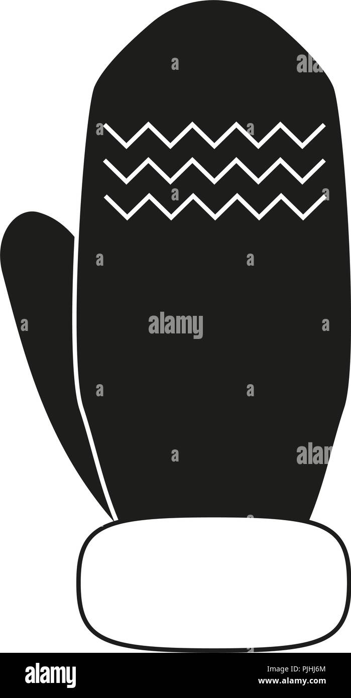 Black and white winter glove silhouette - Stock Vector