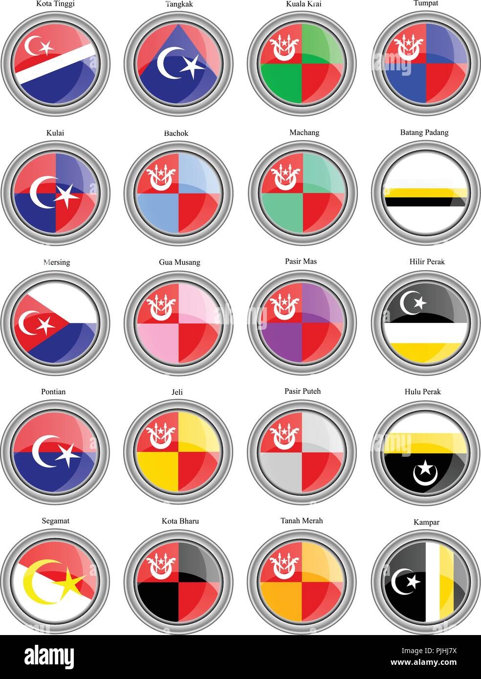 Set of icons. Flags of the Malaysian districts. Vector. Stock Vector