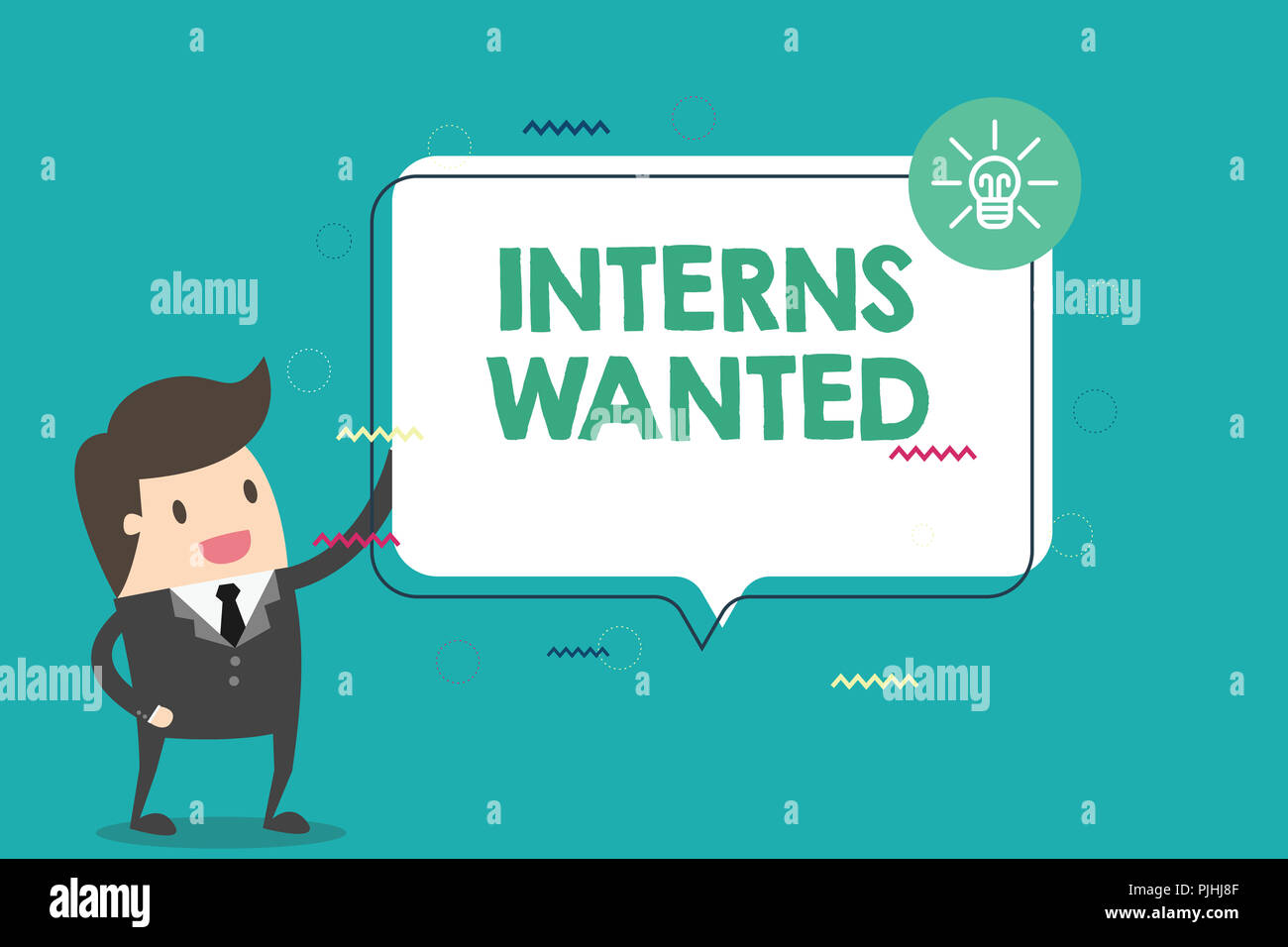 Handwriting text Interns Wanted. Concept meaning Looking for on the job trainee Part time Working student. - Stock Image