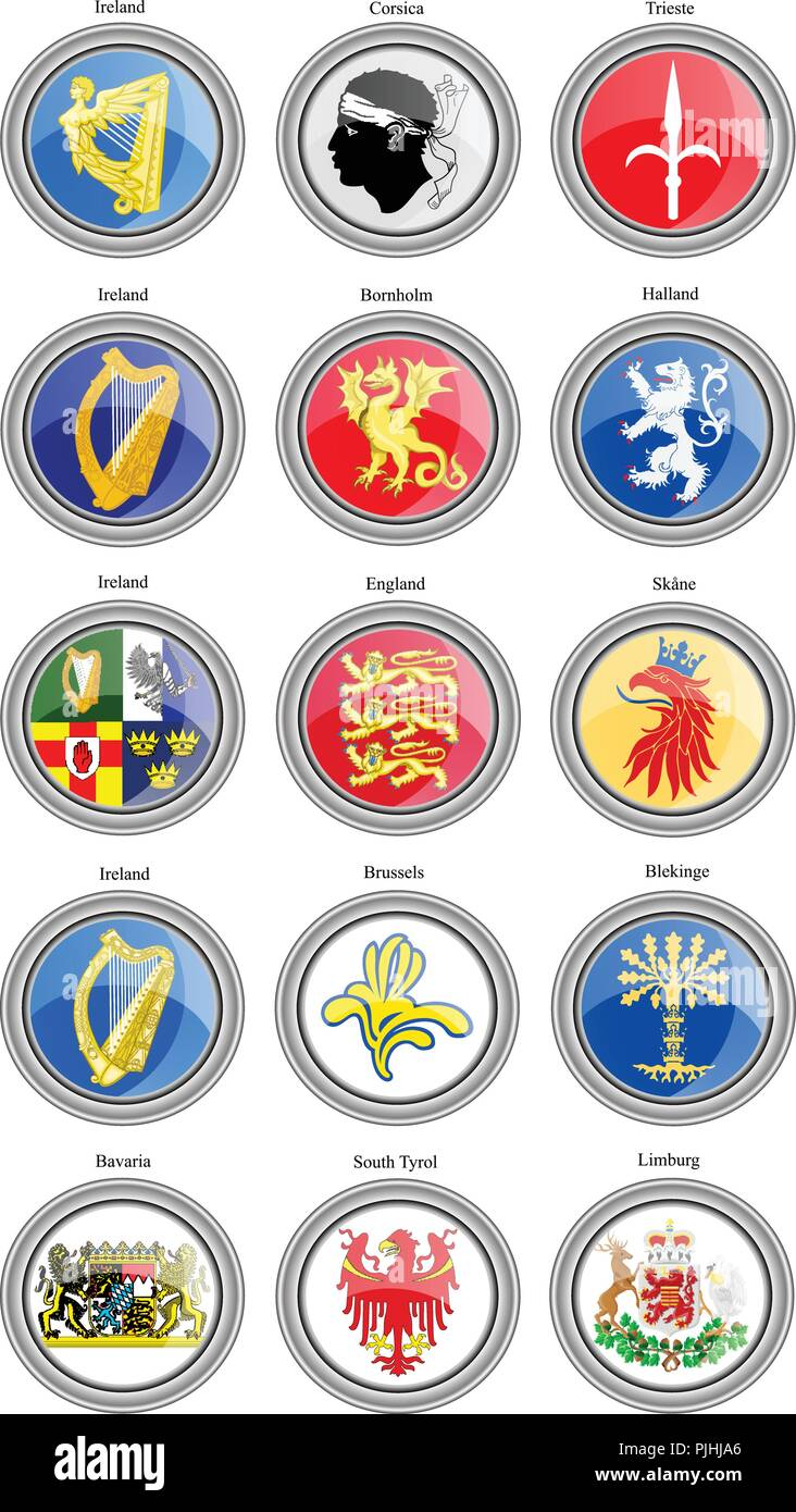 Set of icons. Coat of arms of the Europe. Vector. - Stock Vector