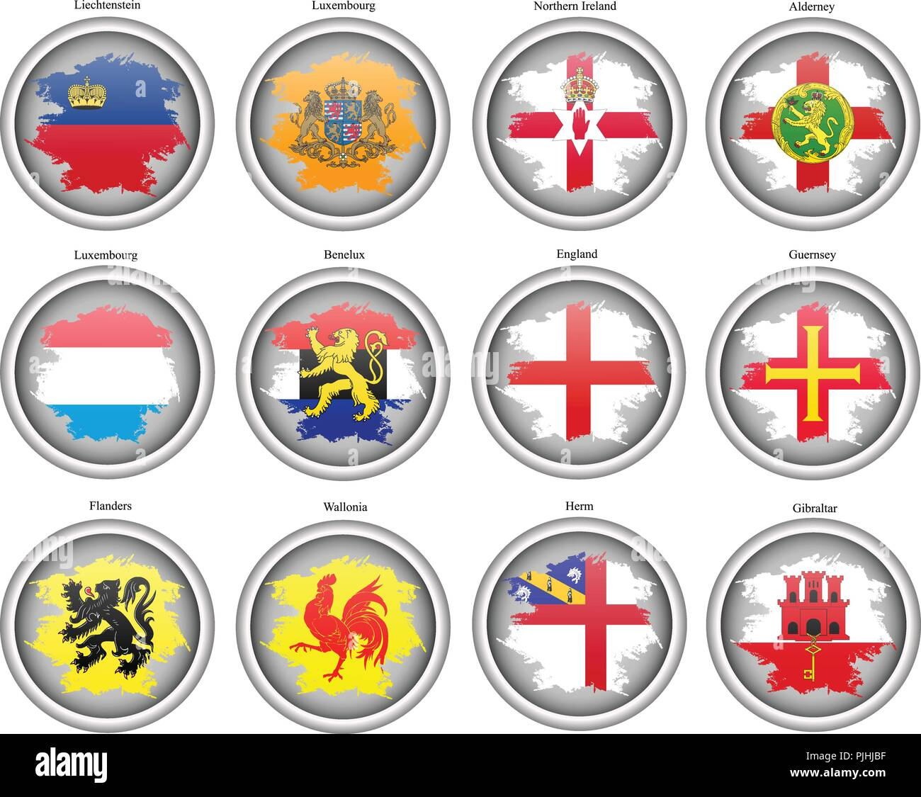 Set of icons. Flags of the Europe. Vector. - Stock Vector