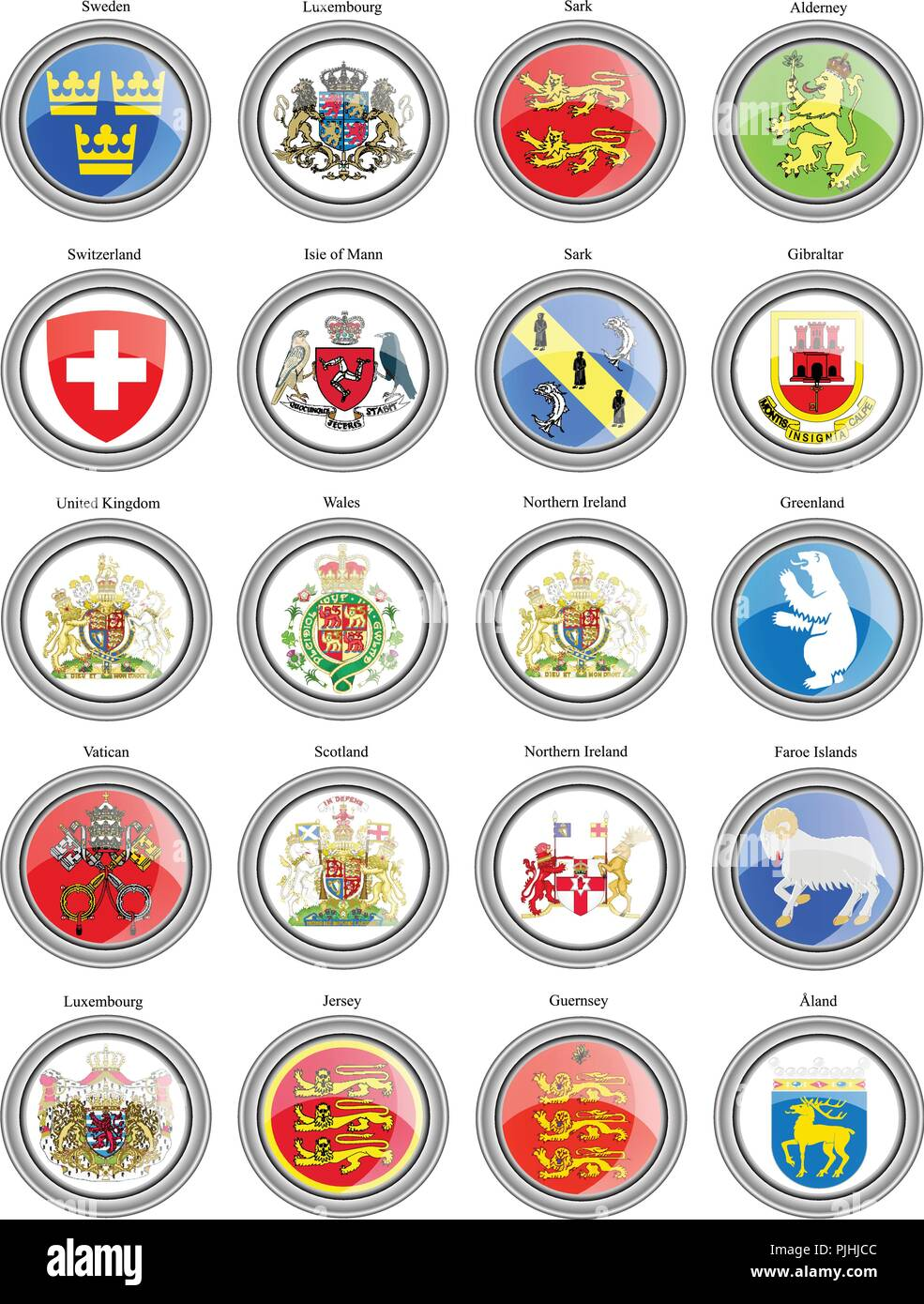 Set of icons. Coat of arms of the Europe. - Stock Vector