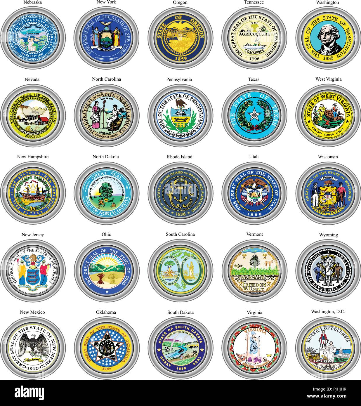 Set of icons. States of USA seals. 3D. - Stock Vector