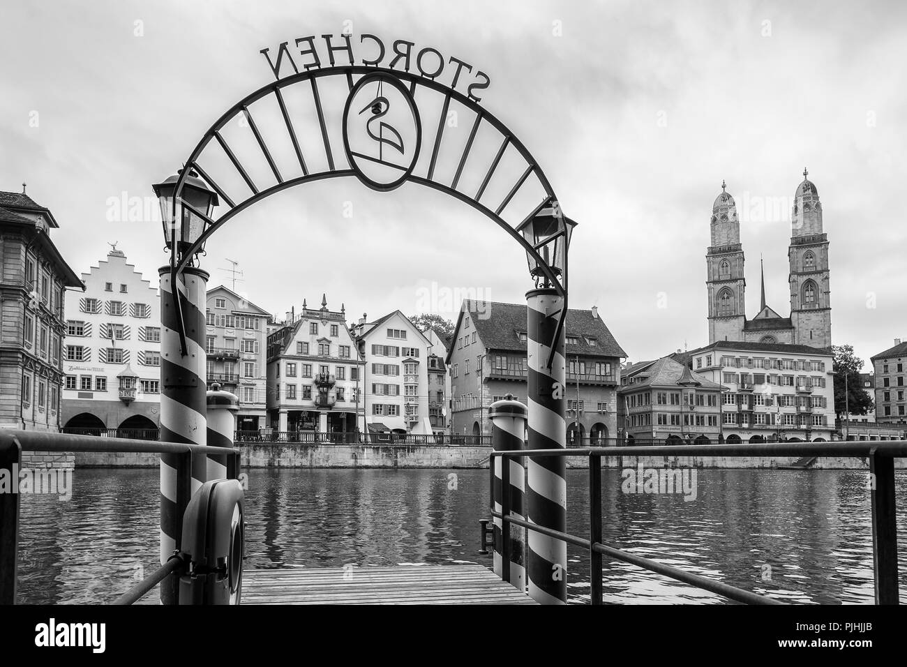 Pier on the Limmat river, Zurich, Switzerland - Stock Image