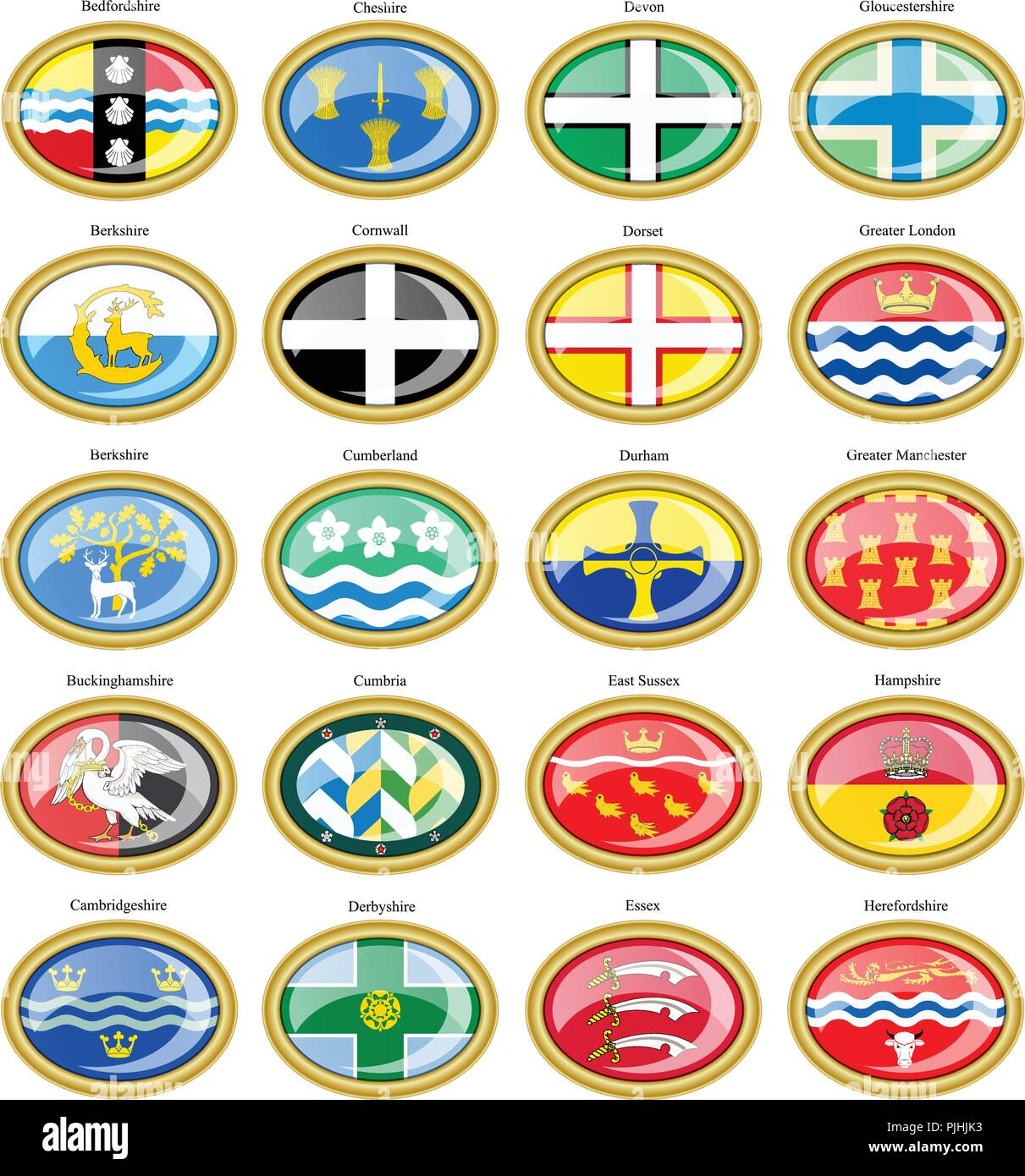 Set of icons. Counties of England flags. 3D. - Stock Vector