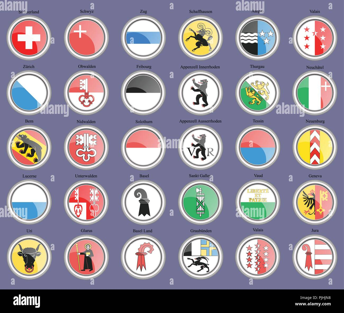 Set of icons. Cantons of Switzerland Flags. - Stock Vector
