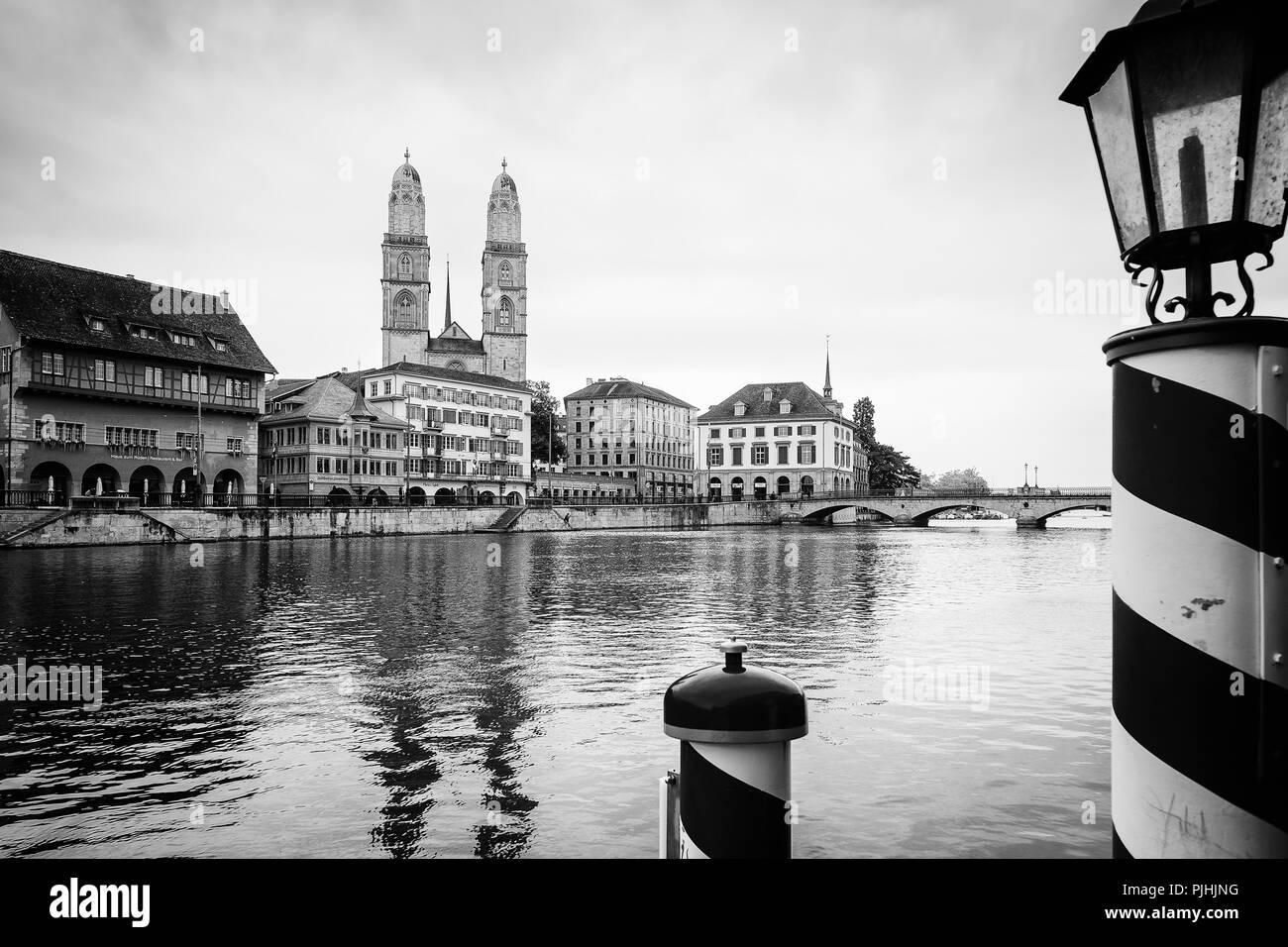 Pier on the Limmat river, Zurich, Switzerland - Stock Image