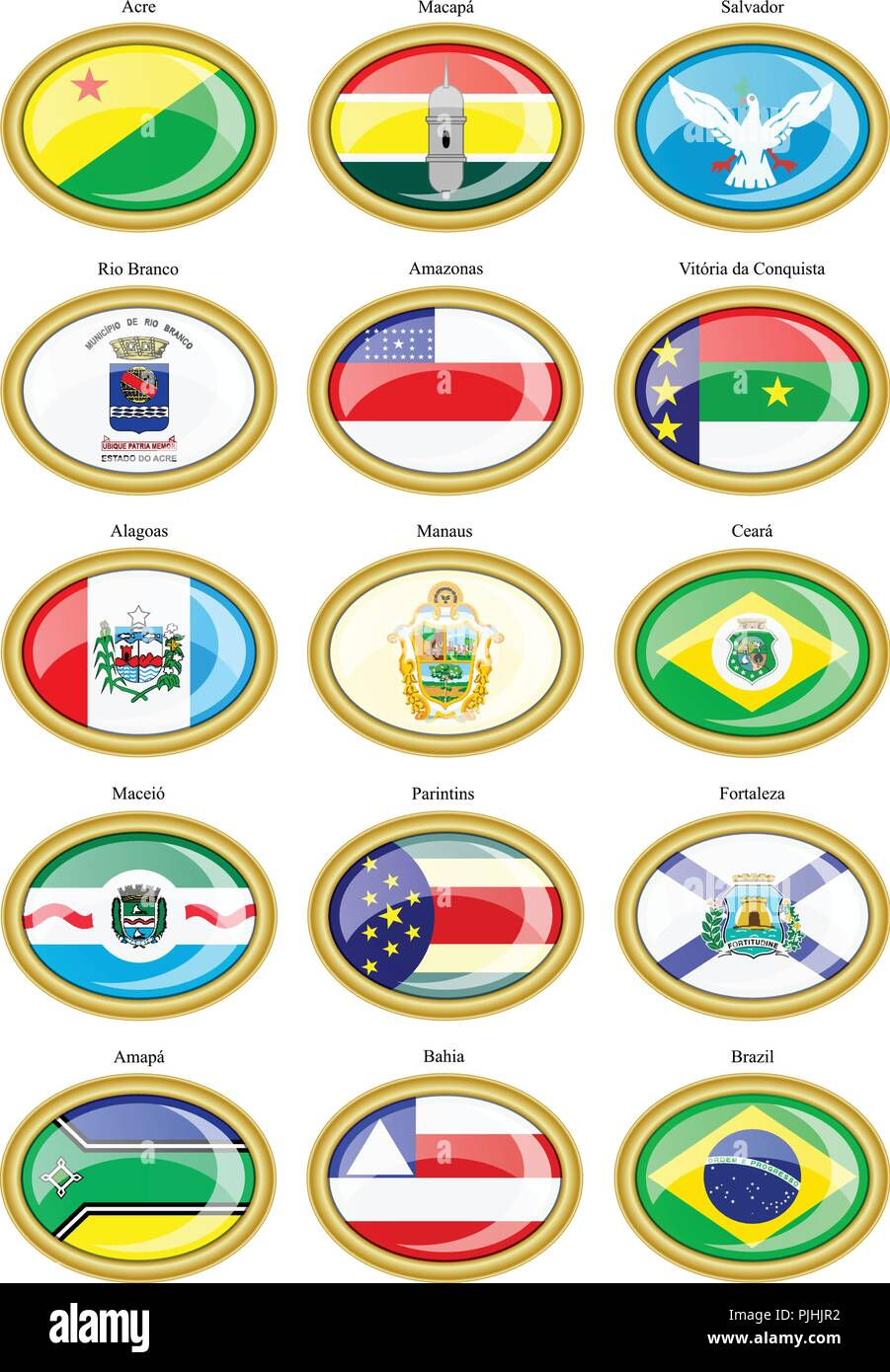 Set of icons. Flags of the Brazilian states and cities. Stock Vector