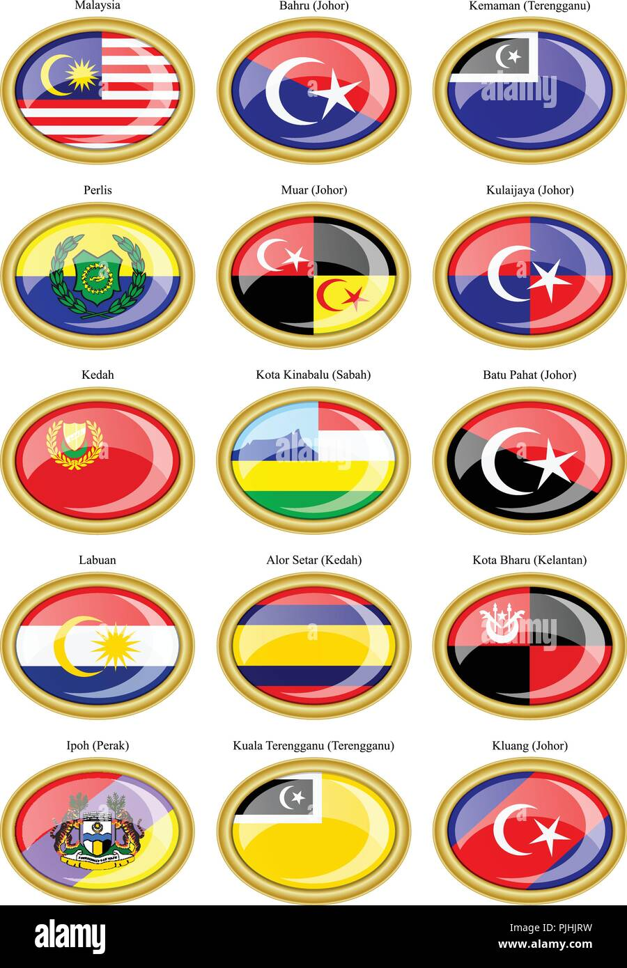 Set of icons. Flags of the Malaysian states and cities. - Stock Vector