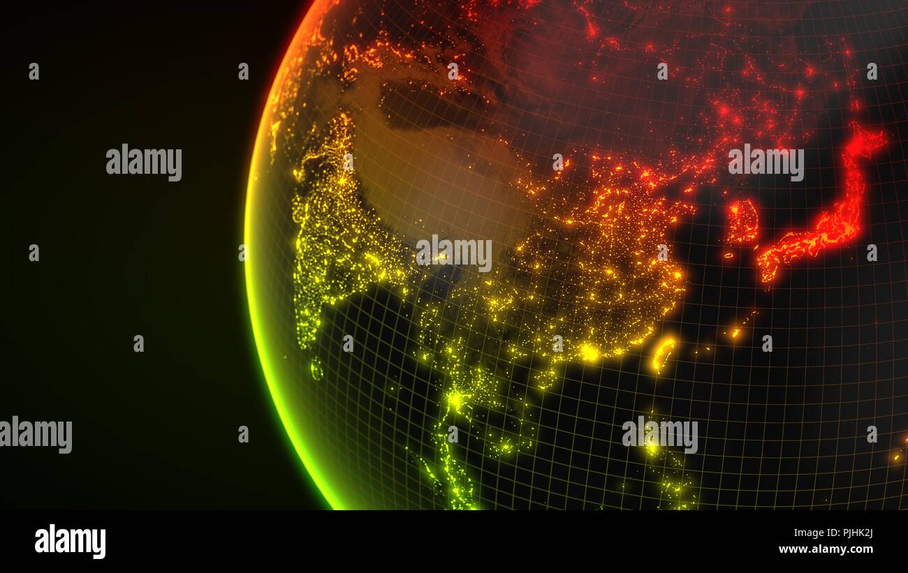 dark earth globe with glowing details of city and human population density areas. 3d illustration - Stock Image